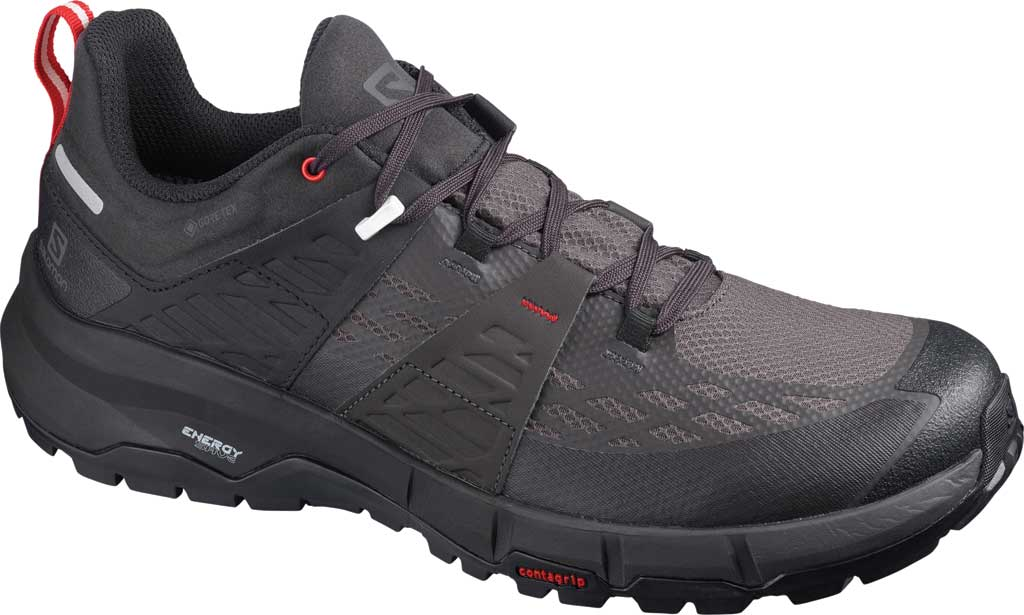 Men's Salomon Odyssey GORE-TEX Hiking Sneaker, Black/Shale/High Risk Red, large, image 1