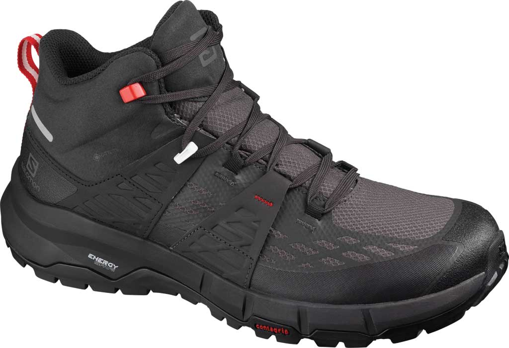 Men's Salomon Odyssey Mid GORE-TEX Hiking Sneaker, Black/Shale/High Risk Red, large, image 1