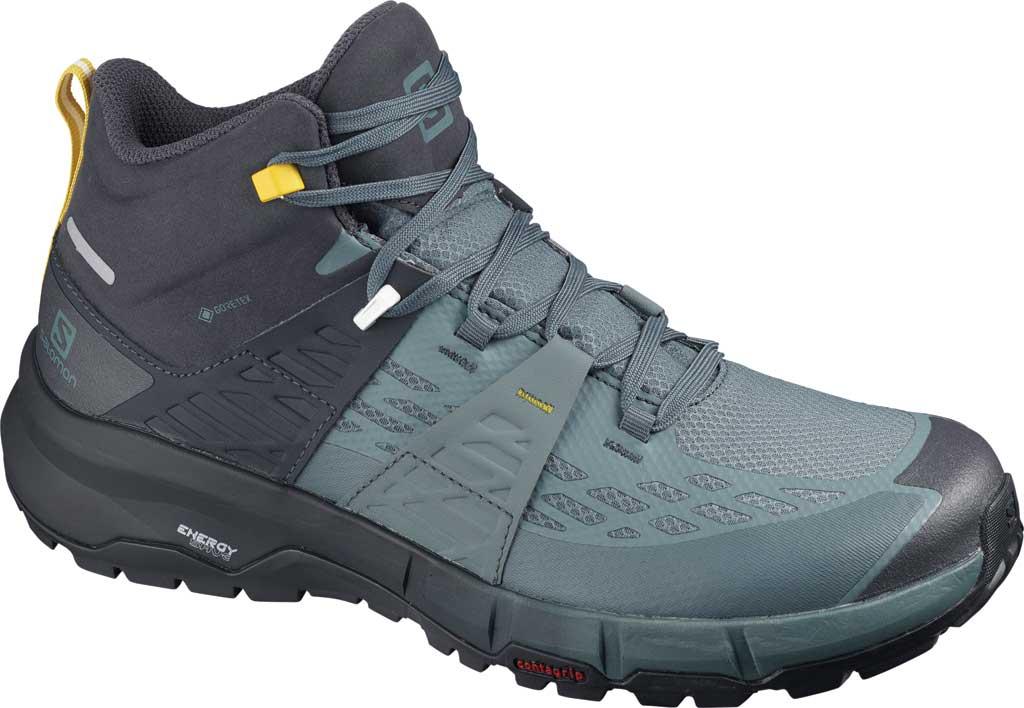 Men's Salomon Odyssey Mid GORE-TEX Hiking Sneaker, Ebony/Stormy Weather/Sulphur, large, image 1