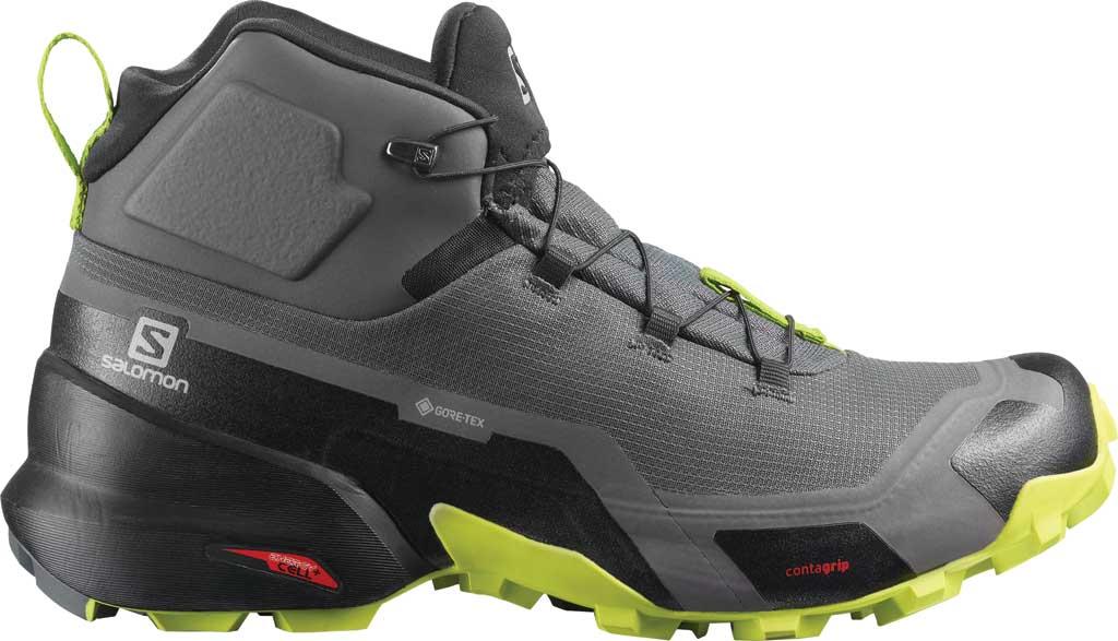 Men's Salomon Cross Hike Mid GORE-TEX Sneaker, Magnet/Black/Lime Punch, large, image 1