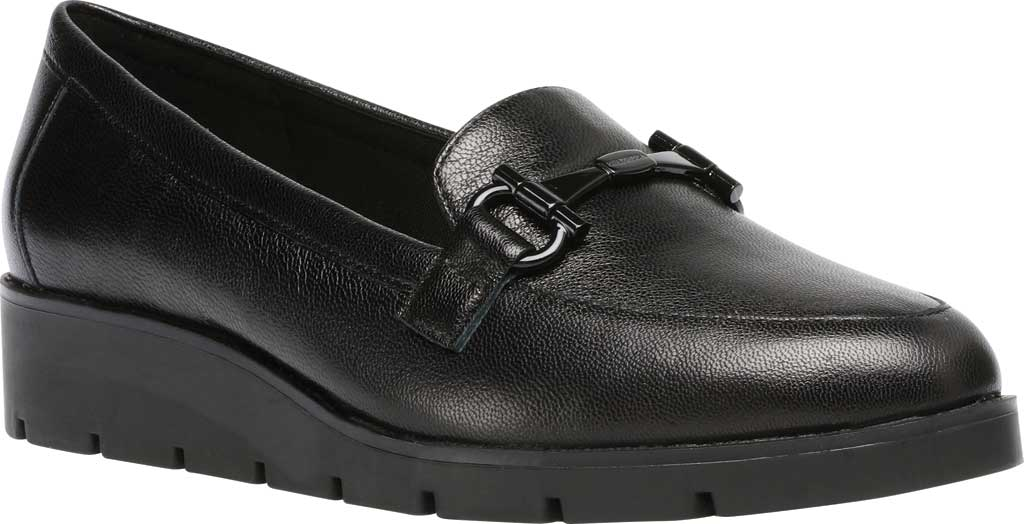 Women's Anne Klein Lalita Wedge Loafer, Black Leather, large, image 1