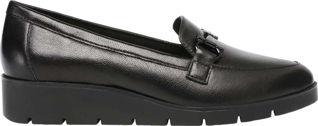 Women's Anne Klein Lalita Wedge Loafer, Black Leather, large, image 2