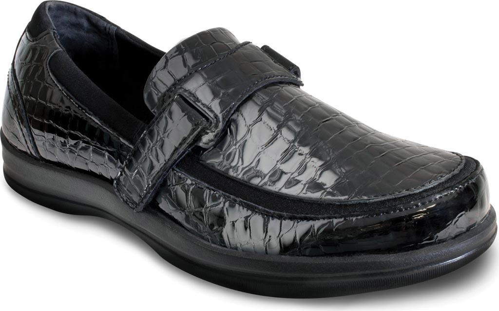 Women's Apex Evelyn Strap Loafer, Black Patent Croc, large, image 1