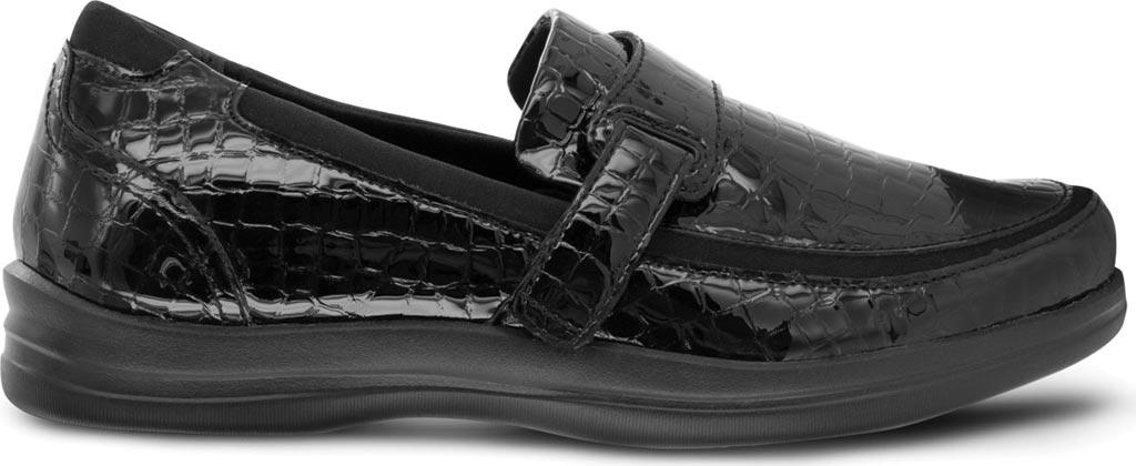 Women's Apex Evelyn Strap Loafer, Black Patent Croc, large, image 2