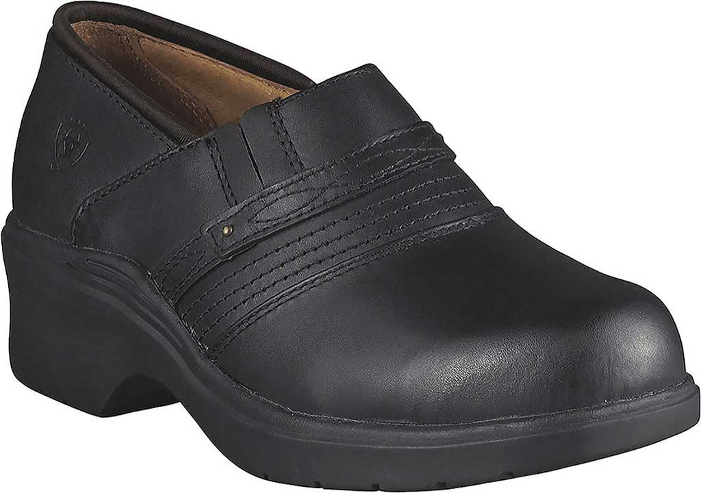 Women's Ariat Safety Clog, Black Full Grain Leather, large, image 1
