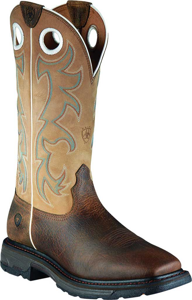 Men's Ariat Workhog Wide Steel Square Toe Tall Boot, Earth/Beige Full Grain Leather, large, image 1