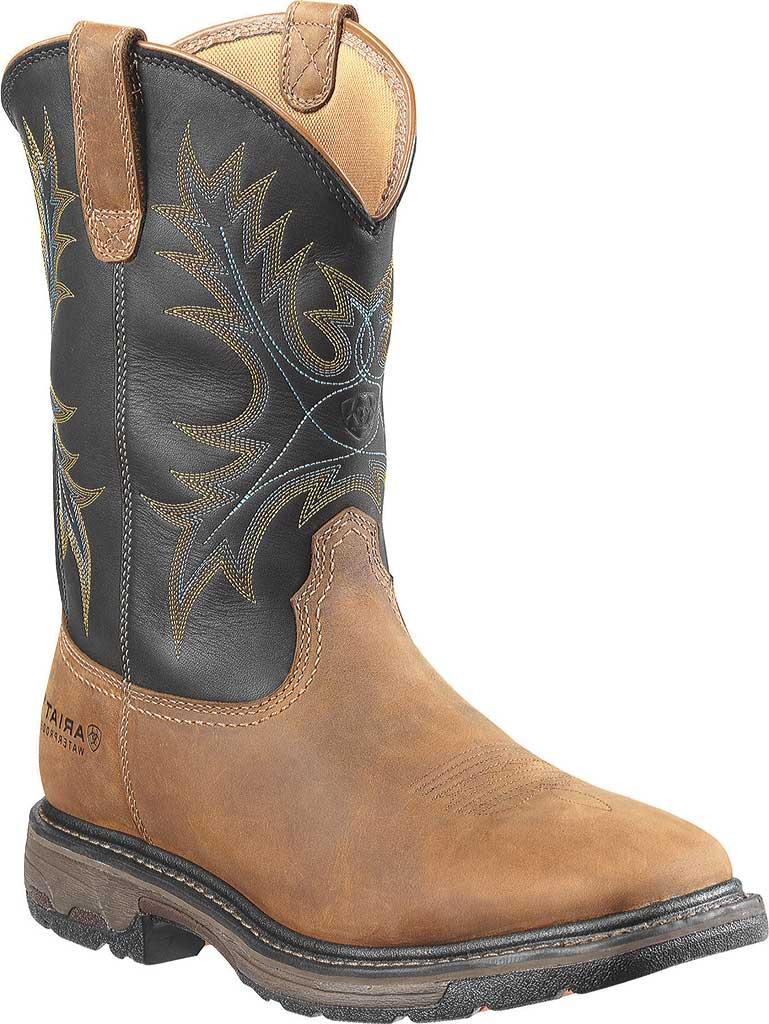Men's Ariat Workhog Wide Square Steel Toe H2O, Aged Bark/Black Full Grain Leather, large, image 1