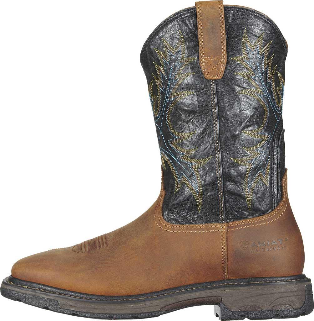 Men's Ariat Workhog Wide Square Steel Toe H2O, Aged Bark/Black Full Grain Leather, large, image 2