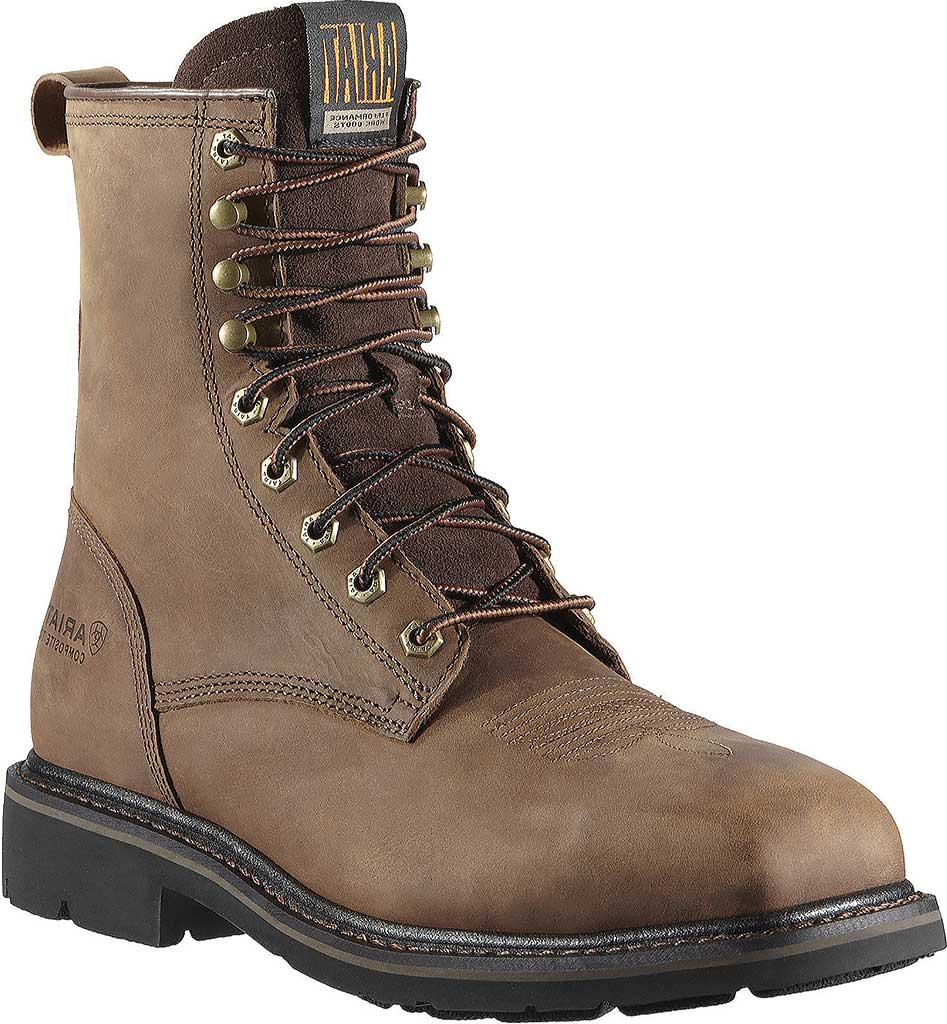 """Men's Ariat Cascade 8"""" Wide Square Steel Toe Boot, Alamo Brown Full Grain Leather, large, image 1"""