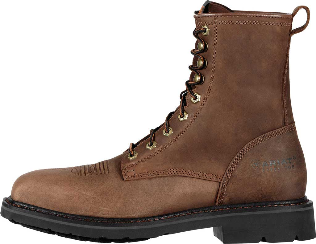 """Men's Ariat Cascade 8"""" Wide Square Steel Toe Boot, Alamo Brown Full Grain Leather, large, image 2"""