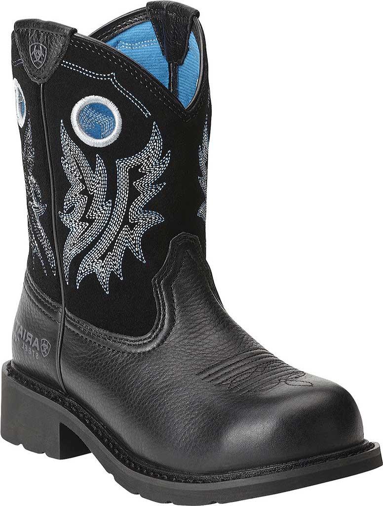Women's Ariat Fatbaby Cowgirl Steel Toe, Black Deertan/Black Full Grain Leather, large, image 1