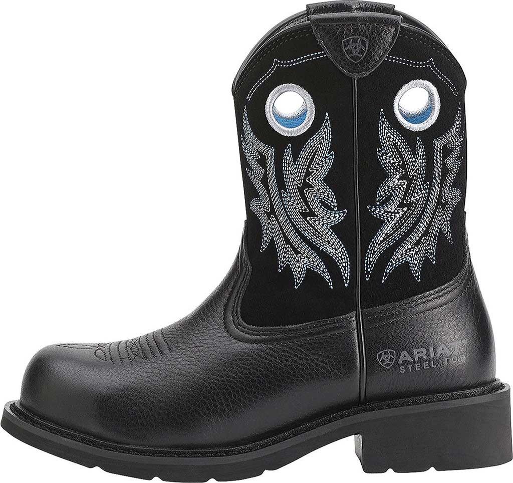 Women's Ariat Fatbaby Cowgirl Steel Toe, Black Deertan/Black Full Grain Leather, large, image 2