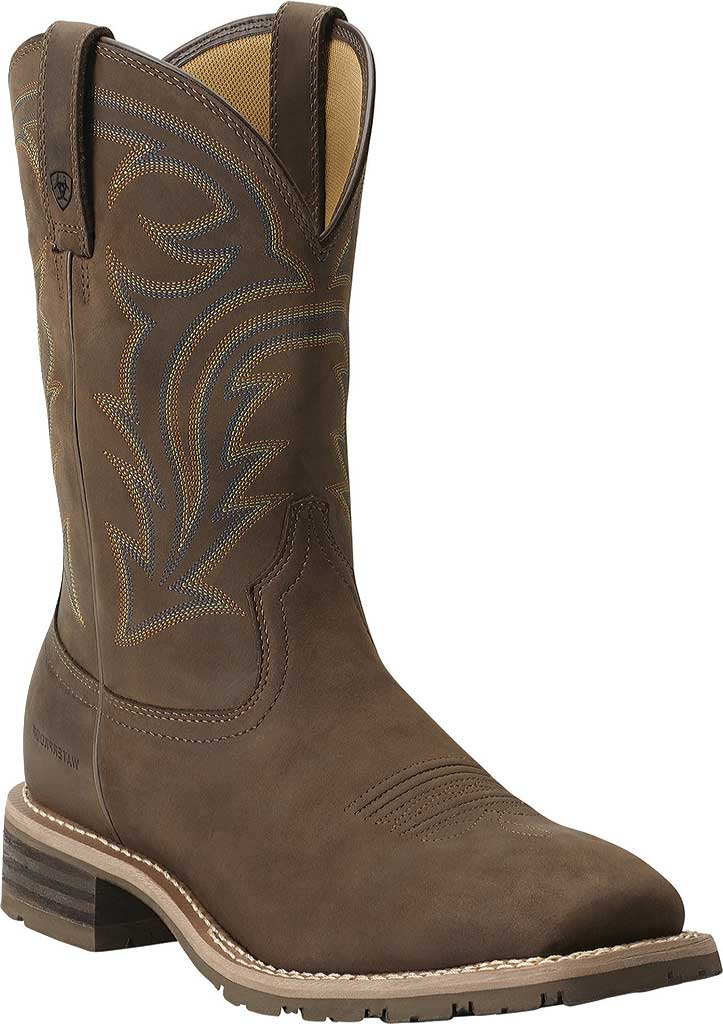 Men's Ariat Hybrid Rancher H2O, Oily Distressed Brown Full Grain Leather, large, image 1