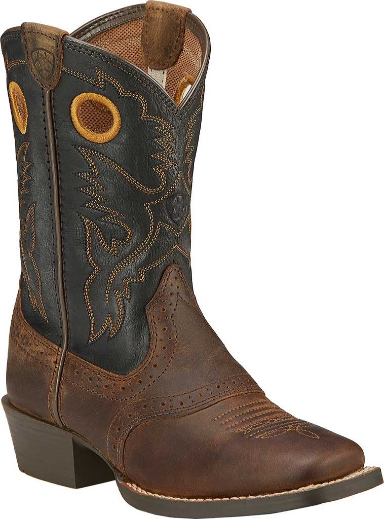 Boys' Ariat Roughstock, Distressed Brown/Black Full Grain Leather, large, image 1