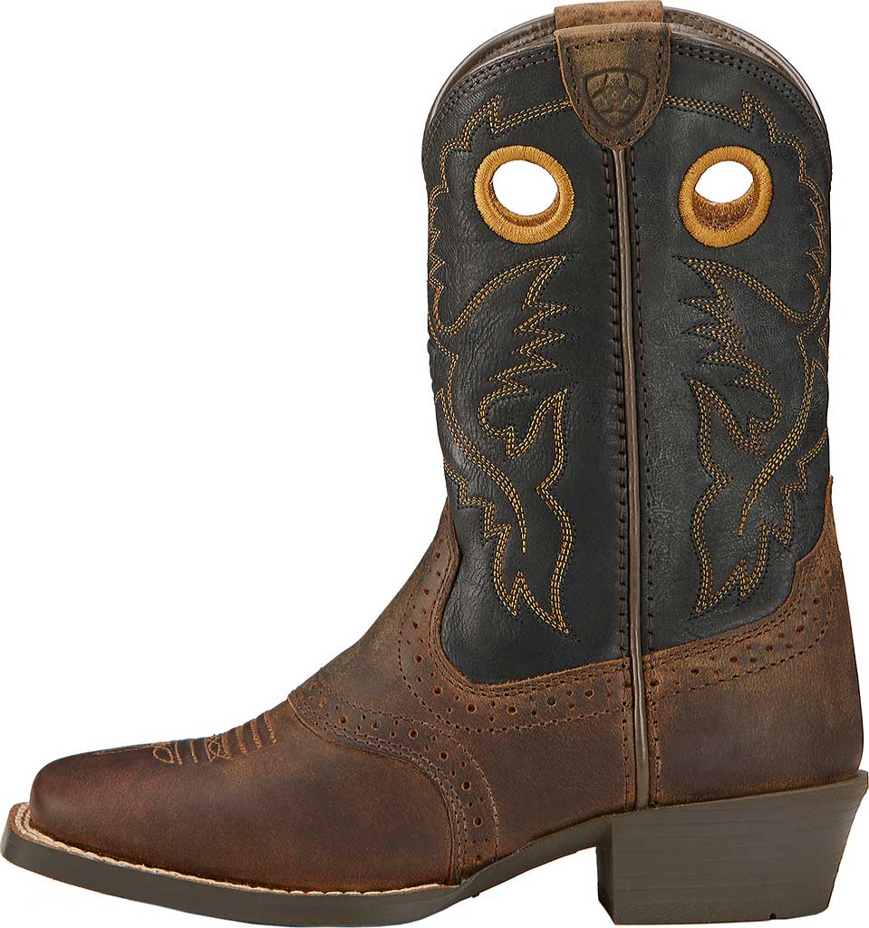 Boys' Ariat Roughstock, Distressed Brown/Black Full Grain Leather, large, image 2