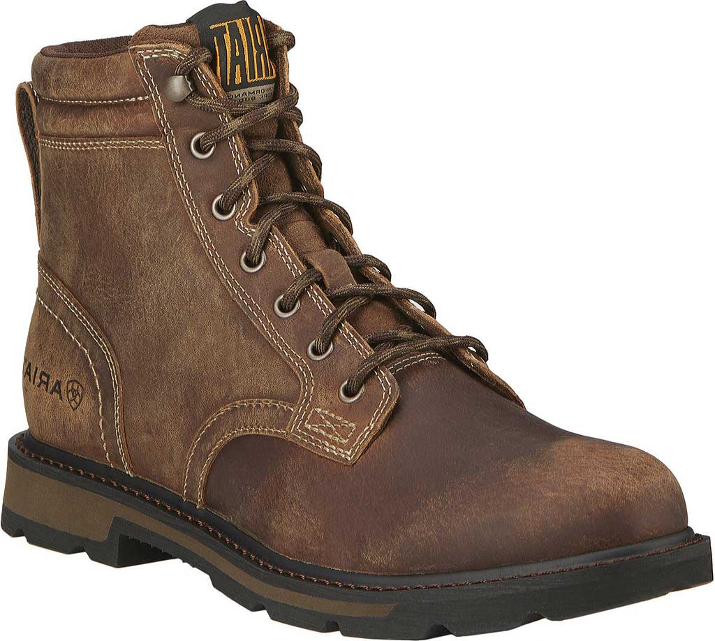 """Men's Ariat Groundbreaker 6"""" Ankle Boot, Brown Leather, large, image 1"""