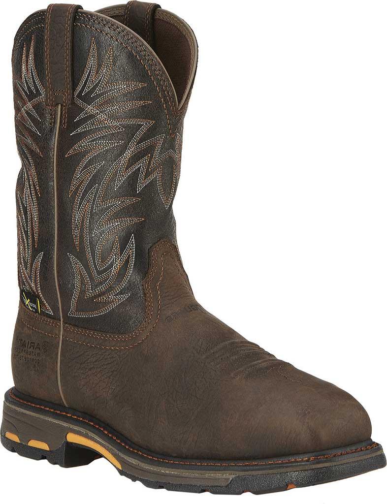 Men's Ariat Workhog Wide Square CT Met Guard H2O Boot, Bruin Brown/Crazy Black Full Grain Leather, large, image 1