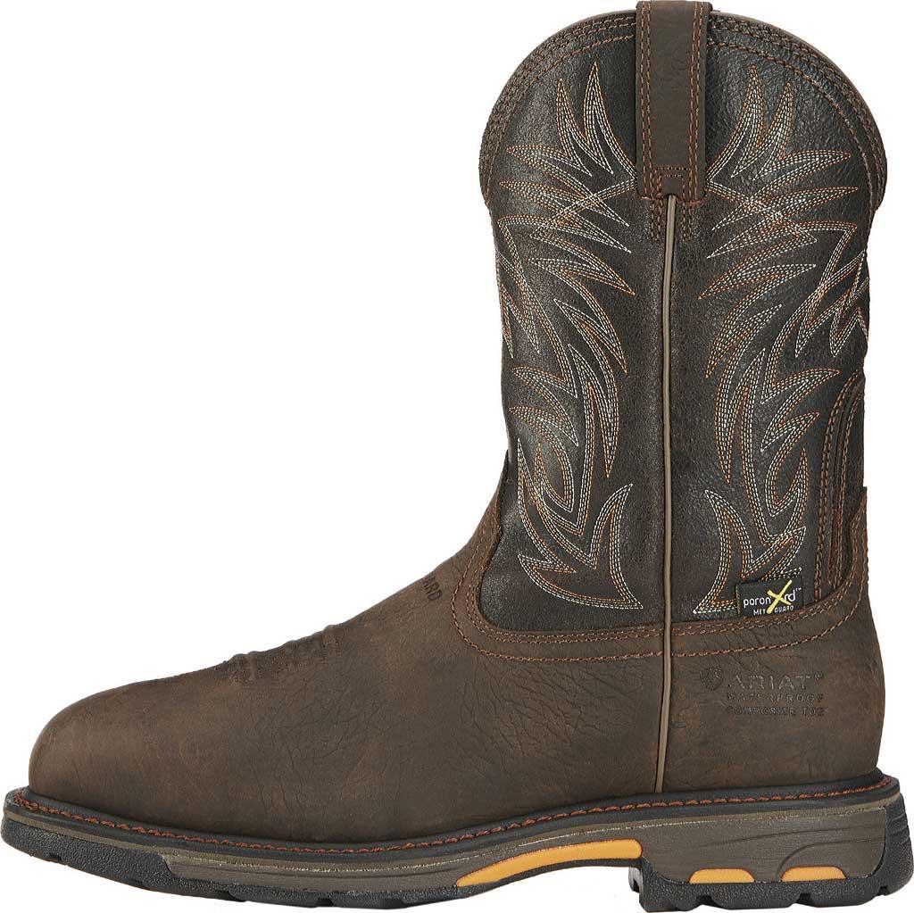Men's Ariat Workhog Wide Square CT Met Guard H2O Boot, Bruin Brown/Crazy Black Full Grain Leather, large, image 2