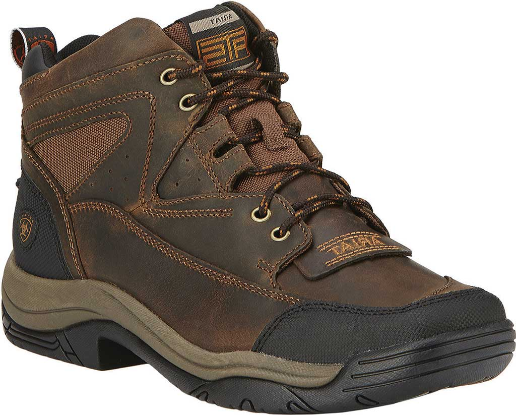 Men's Ariat Terrain Wide Square Toe Boot, Distressed Brown Full Grain Leather, large, image 1