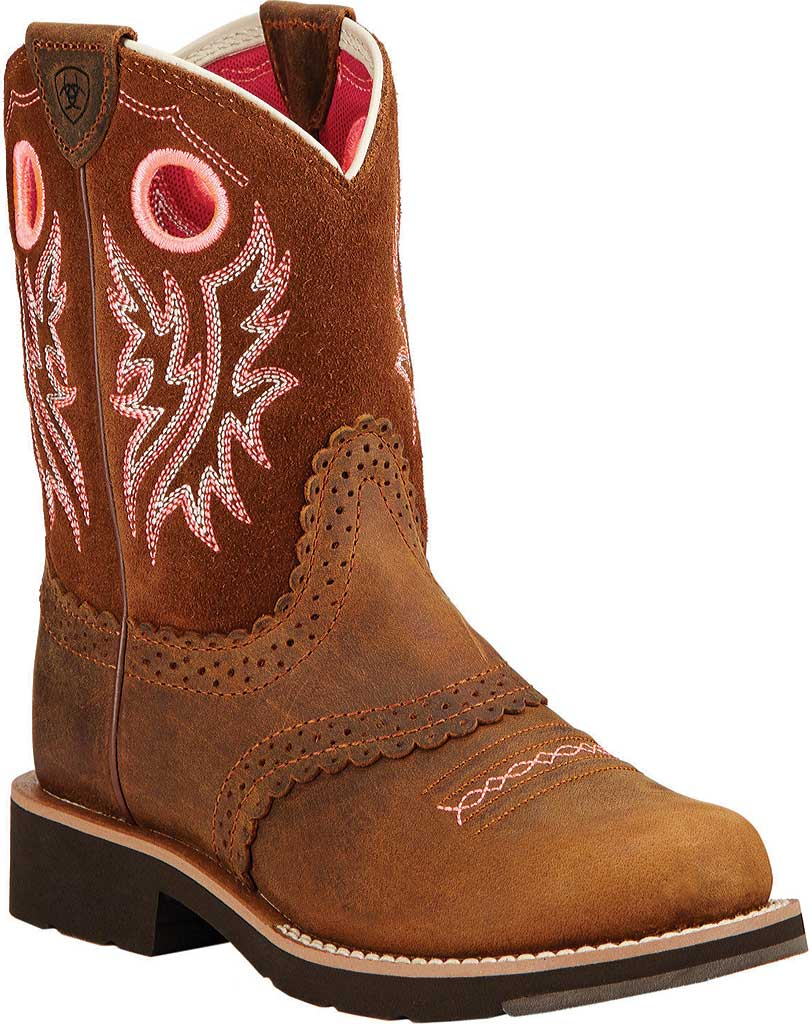 Children's Ariat Fatbaby Cowgirl, Powder/Western Brown Full Grain Leather/Suede, large, image 1