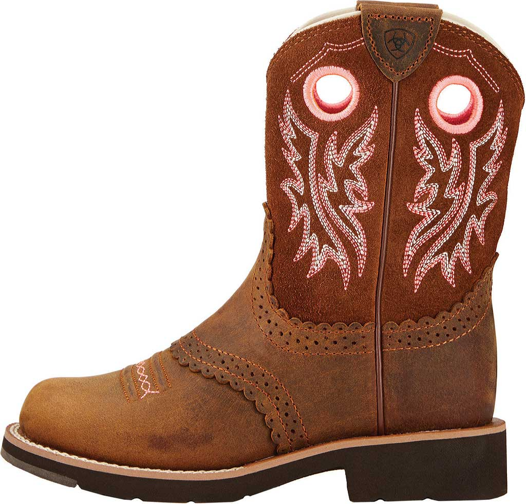 Children's Ariat Fatbaby Cowgirl, Powder/Western Brown Full Grain Leather/Suede, large, image 2