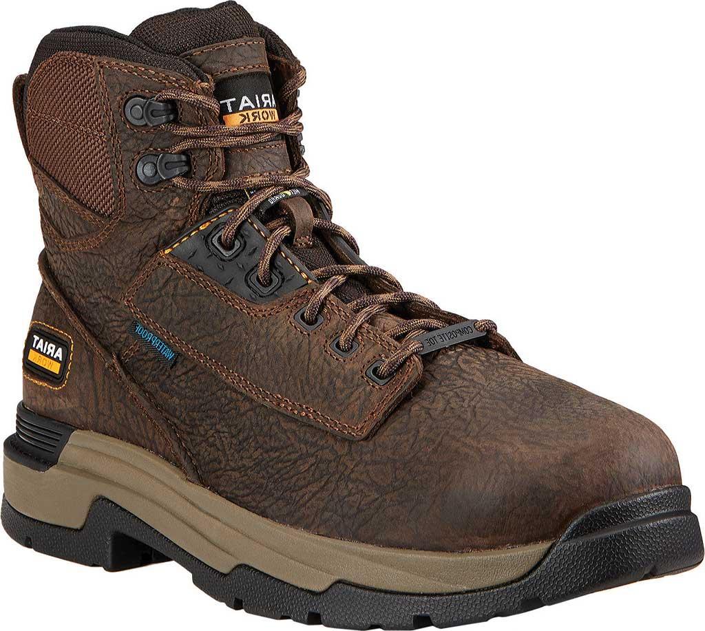 "Men's Ariat Mastergrip 6"" H2O Composite Toe Metguard Work Boot, Bruin Brown Full Grain Leather, large, image 1"