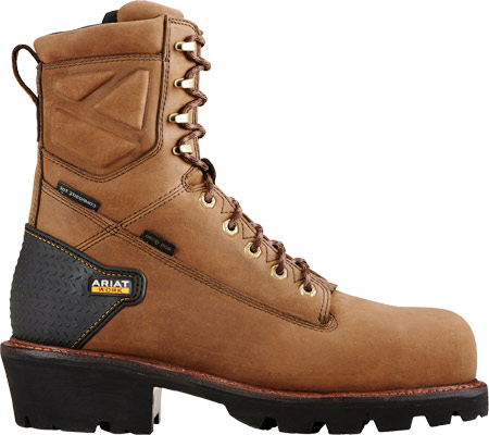"""Men's Ariat Powerline 8"""" H2O 400G Composite Toe Boot, Oily Distressed Brown Waterproof Leather, large, image 2"""