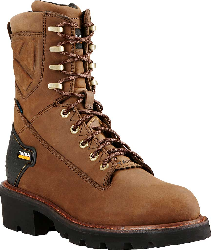 """Men's Ariat Powerline 8"""" H2O Logger Boot, Oily Distressed Brown Leather, large, image 1"""
