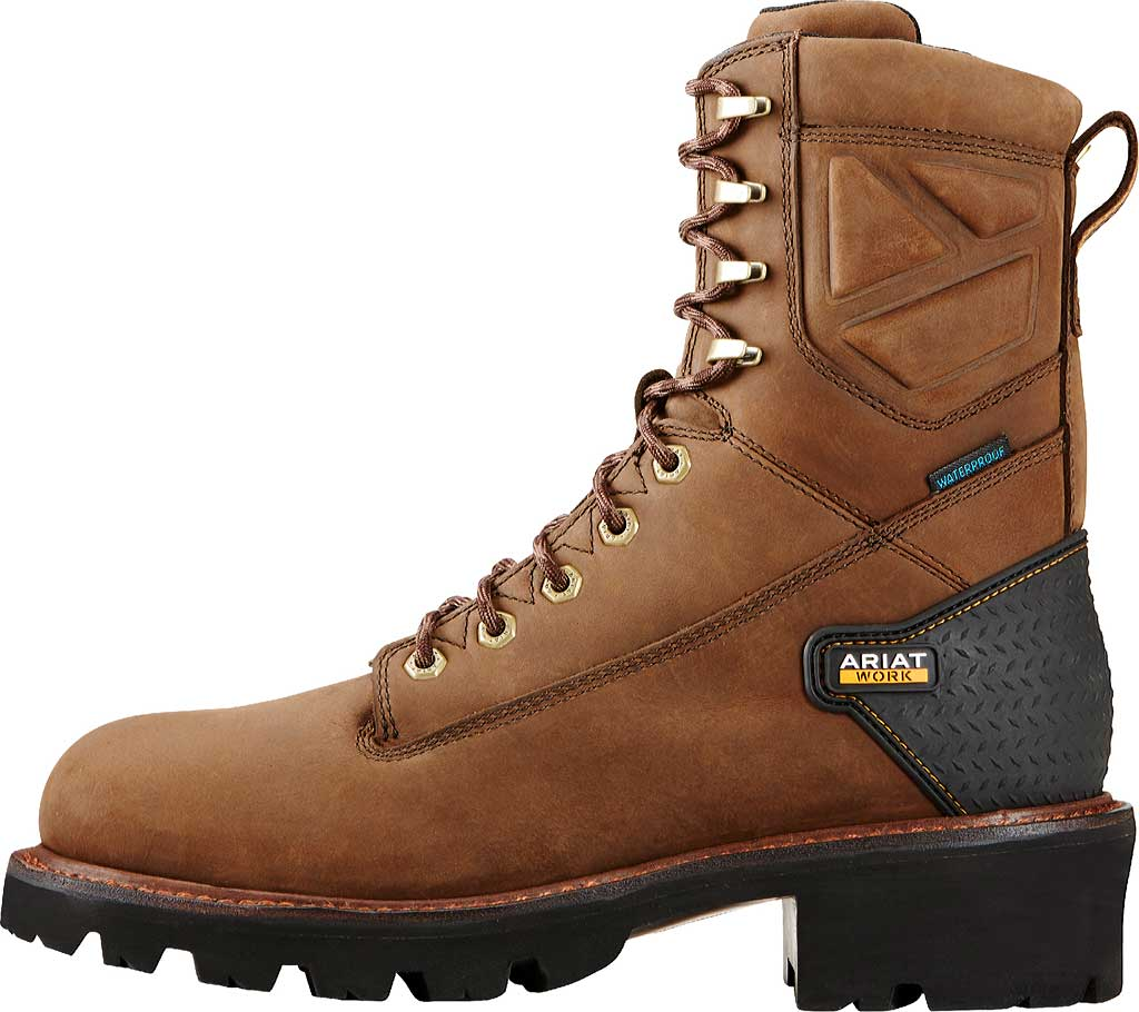 """Men's Ariat Powerline 8"""" H2O Logger Boot, Oily Distressed Brown Leather, large, image 3"""