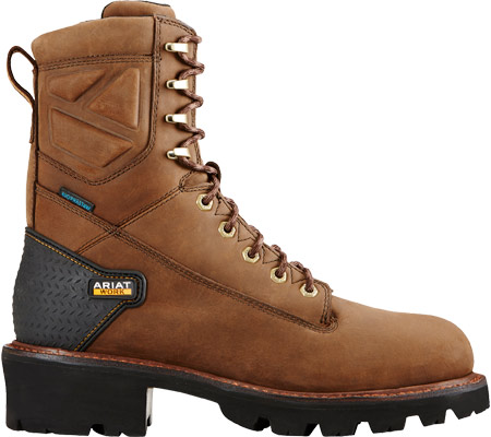 """Men's Ariat Powerline 8"""" H2O Logger Boot, Oily Distressed Brown Leather, large, image 2"""
