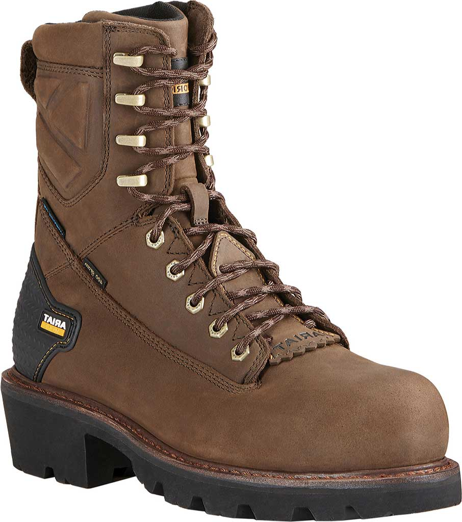 """Men's Ariat Powerline 8"""" H2O Composite Toe Boot, Oily Distressed Brown Waterproof Leather, large, image 1"""