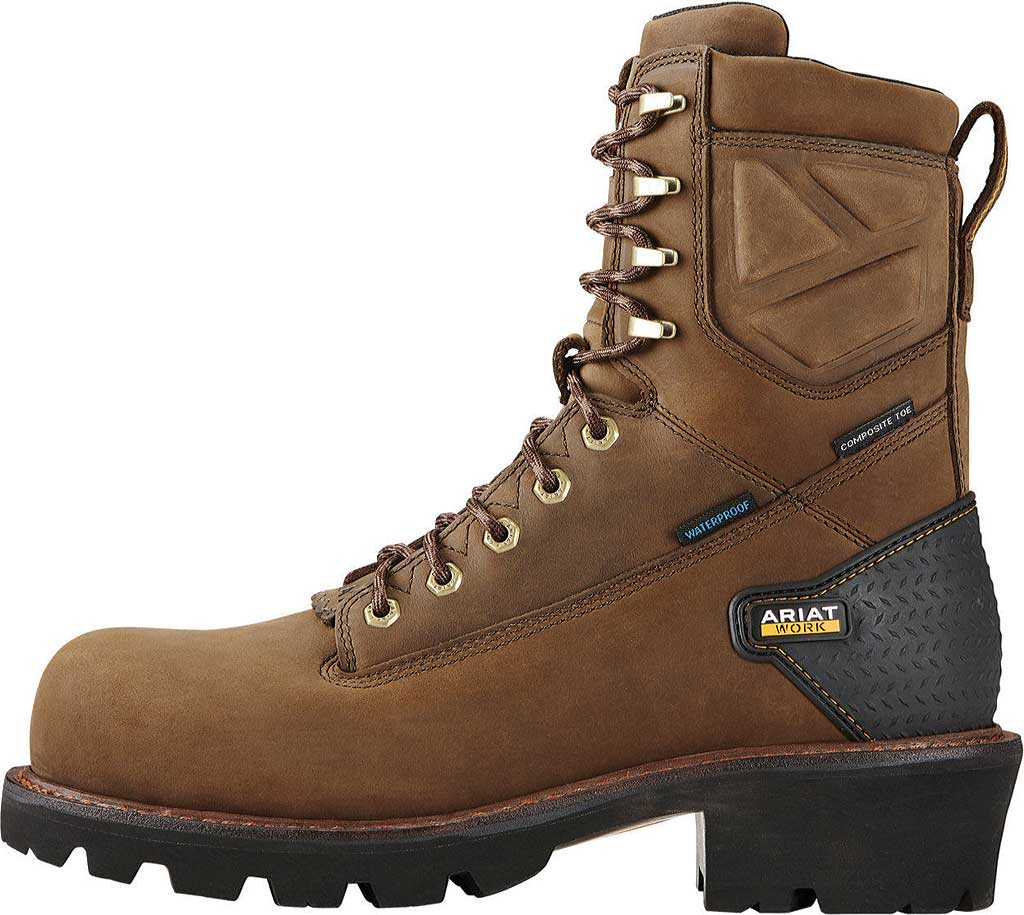 """Men's Ariat Powerline 8"""" H2O Composite Toe Boot, Oily Distressed Brown Waterproof Leather, large, image 3"""