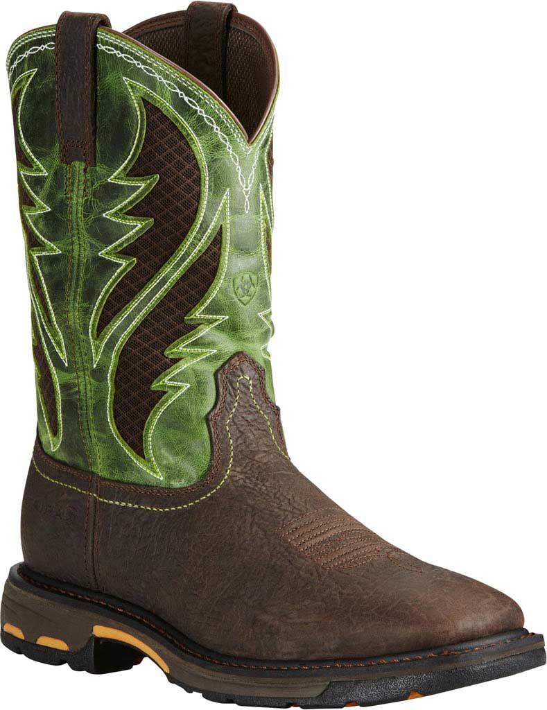 Men's Ariat Workhog Wide Square Toe VentTEK Boot, Bruin Brown/Grass Green Full Grain Leather, large, image 1