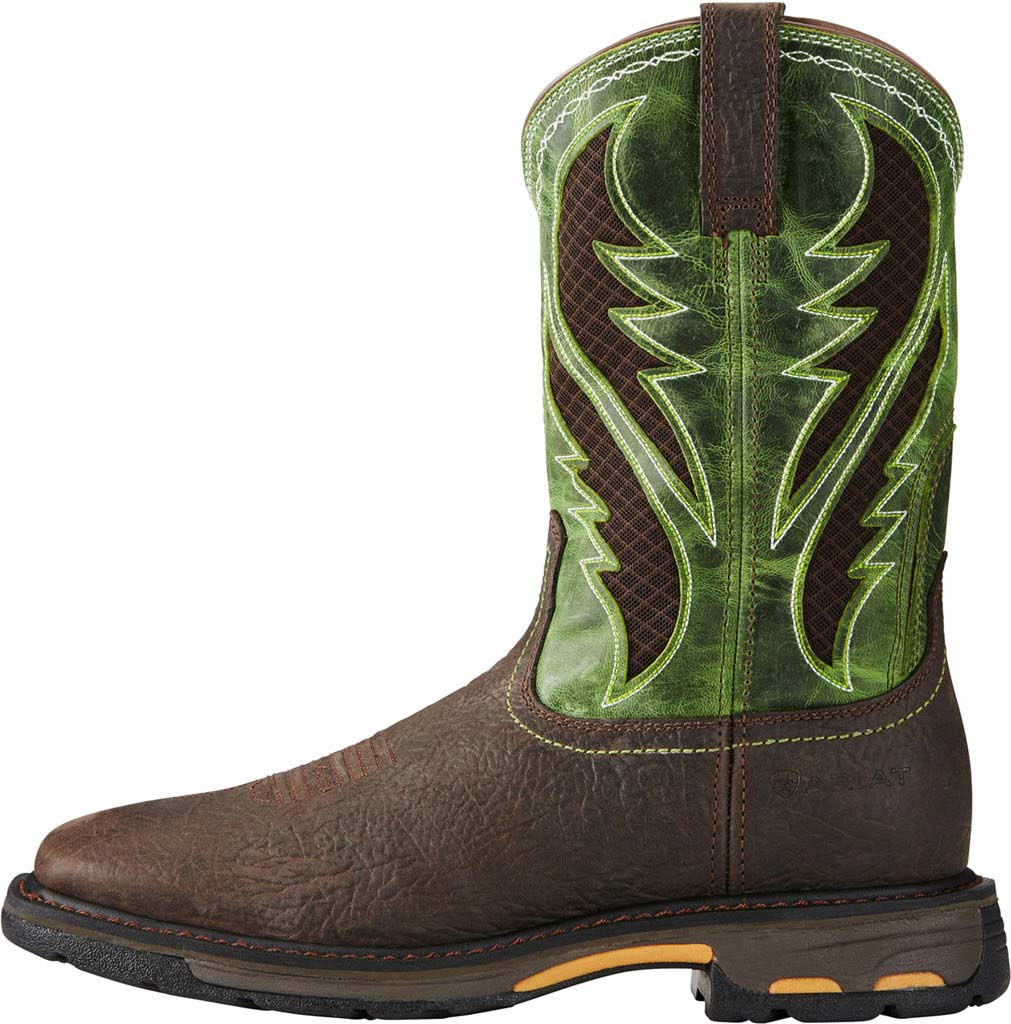 Men's Ariat Workhog Wide Square Toe VentTEK Boot, Bruin Brown/Grass Green Full Grain Leather, large, image 2