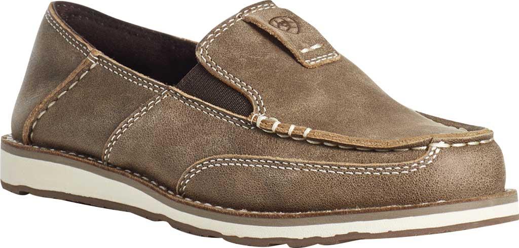 Children's Ariat Cruiser Moc Toe Slip-On, Brown Bomber Full Grain Leather, large, image 1