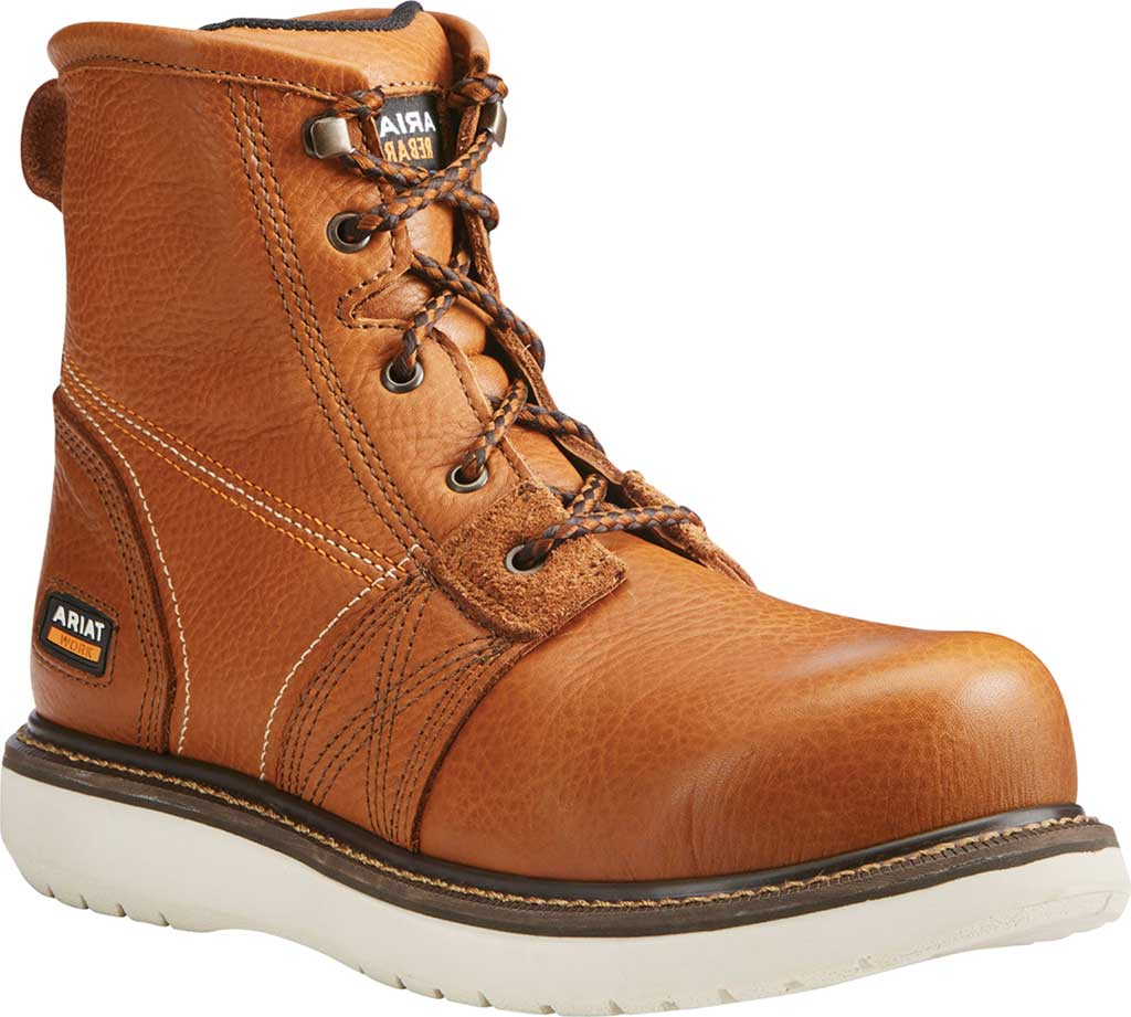 """Men's Ariat Rebar Wedge 6"""" Waterproof Boot, Golden Grizzly Full Grain Leather, large, image 1"""
