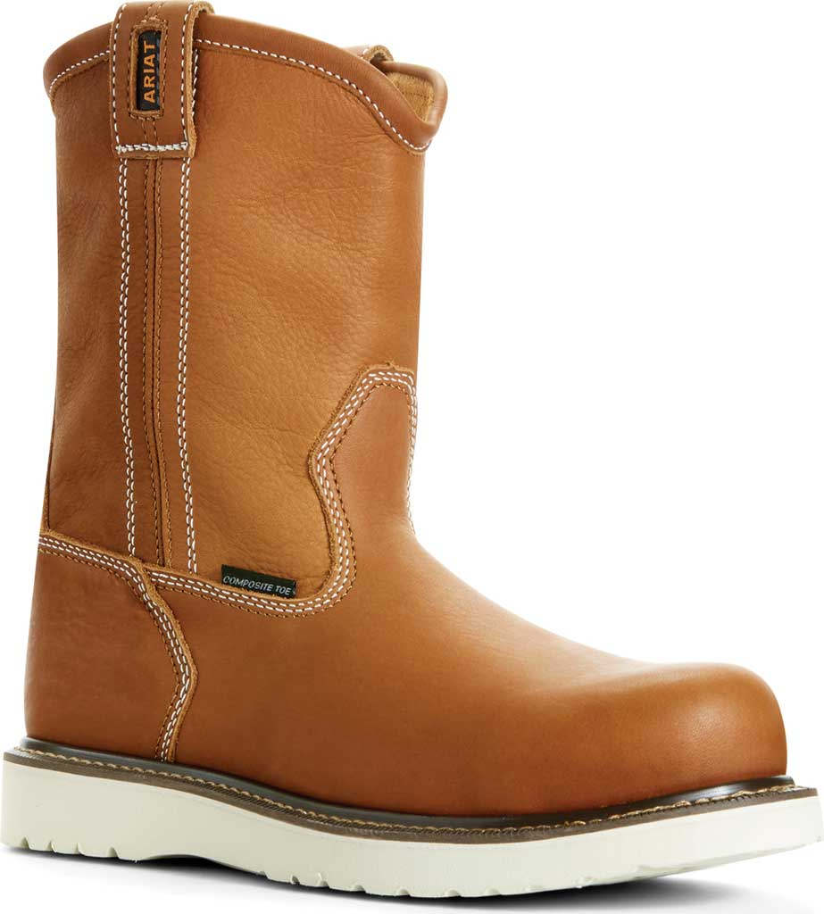"""Men's Ariat Rebar Wedge 6"""" Pull On Composite Toe Boot, Golden Grizzly Full Grain Leather, large, image 1"""