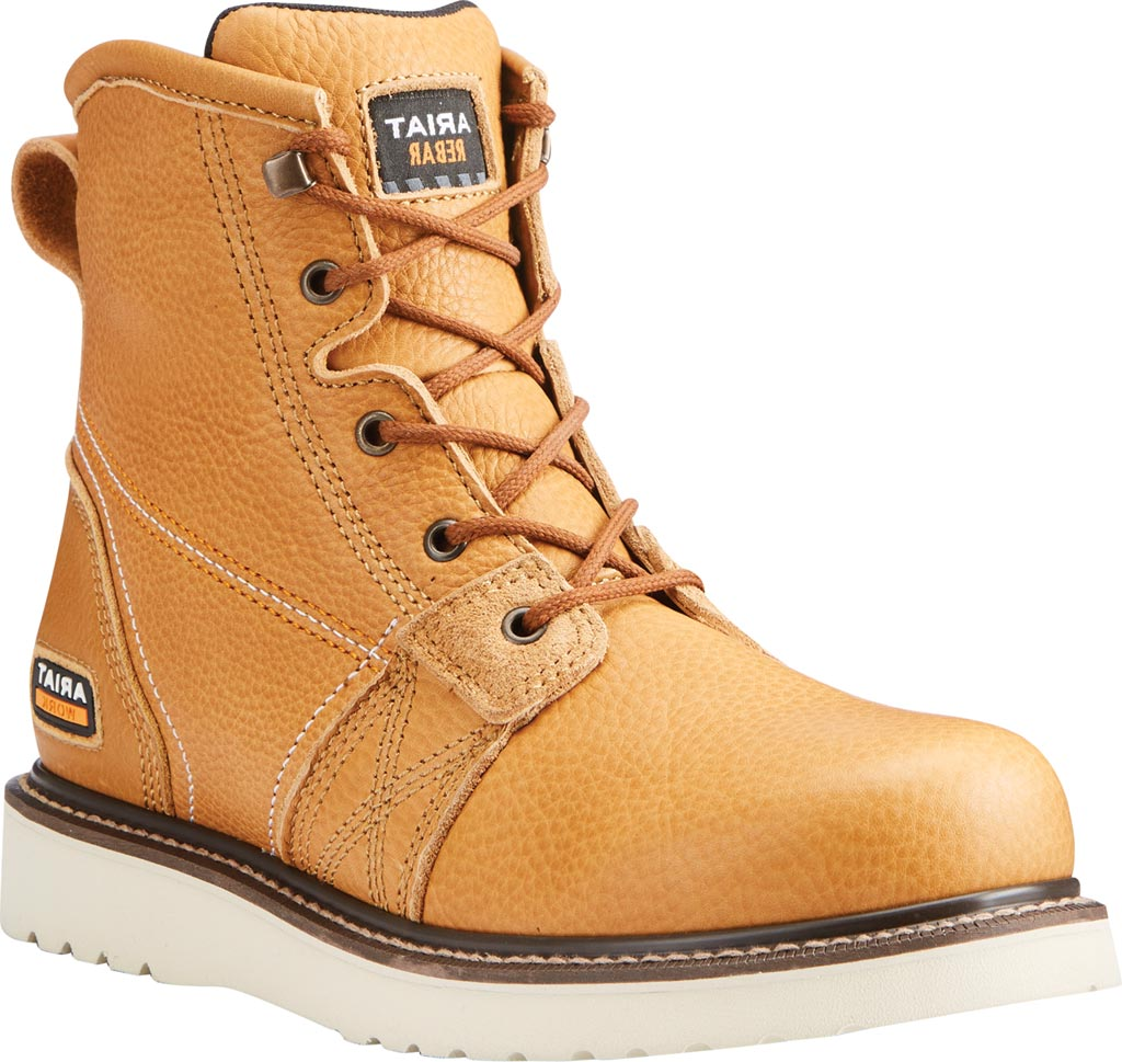 """Men's Ariat Rebar Wedge 6"""" Work Boot, Golden Grizzly Full Grain Leather, large, image 1"""