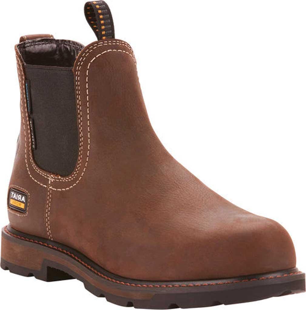 Men's Ariat Groundbreaker H2O Steel Toe Chelsea Boot, Dark Brown Full Grain Leather, large, image 1