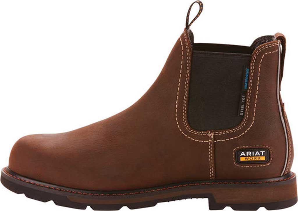 Men's Ariat Groundbreaker H2O Steel Toe Chelsea Boot, Dark Brown Full Grain Leather, large, image 2