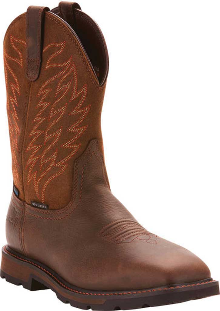 Men's Ariat Groundbreaker Wide Square Toe H2O Steel Toe Boot, Dark Brown Leather, large, image 1