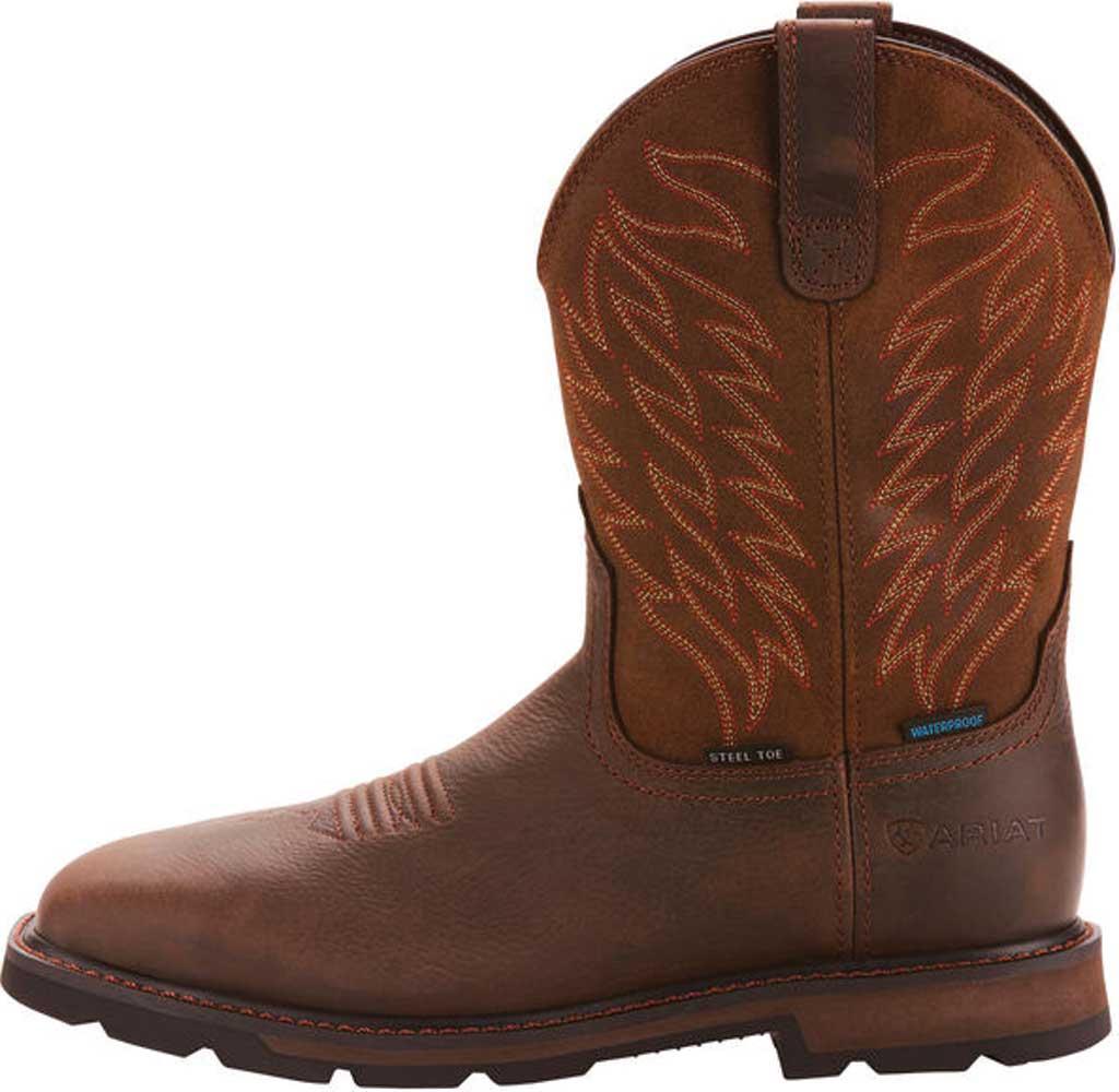 Men's Ariat Groundbreaker Wide Square Toe H2O Steel Toe Boot, Dark Brown Leather, large, image 2