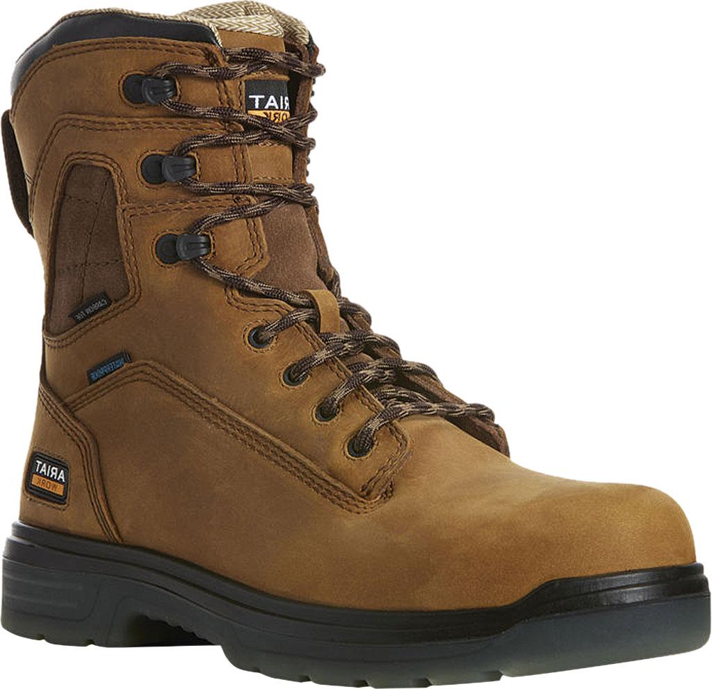 "Men's Ariat Turbo 8"" H2O Carbon Toe Work Boot, Aged Bark Full Grain Leather, large, image 1"
