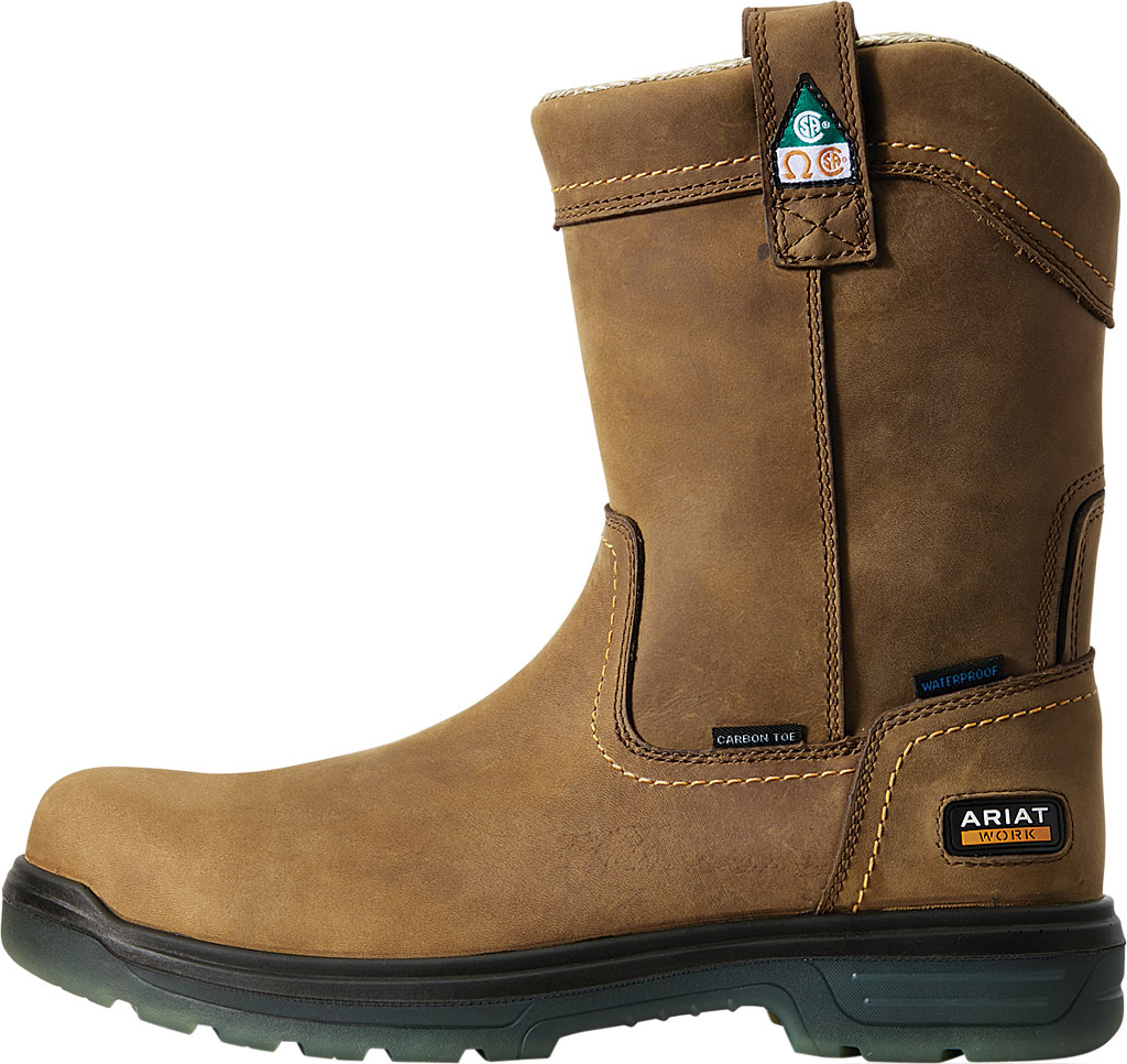 Men's Ariat Turbo Pull-On H2O CSA Carbon Toe Work Boot, Aged Bark Full Grain Leather, large, image 2