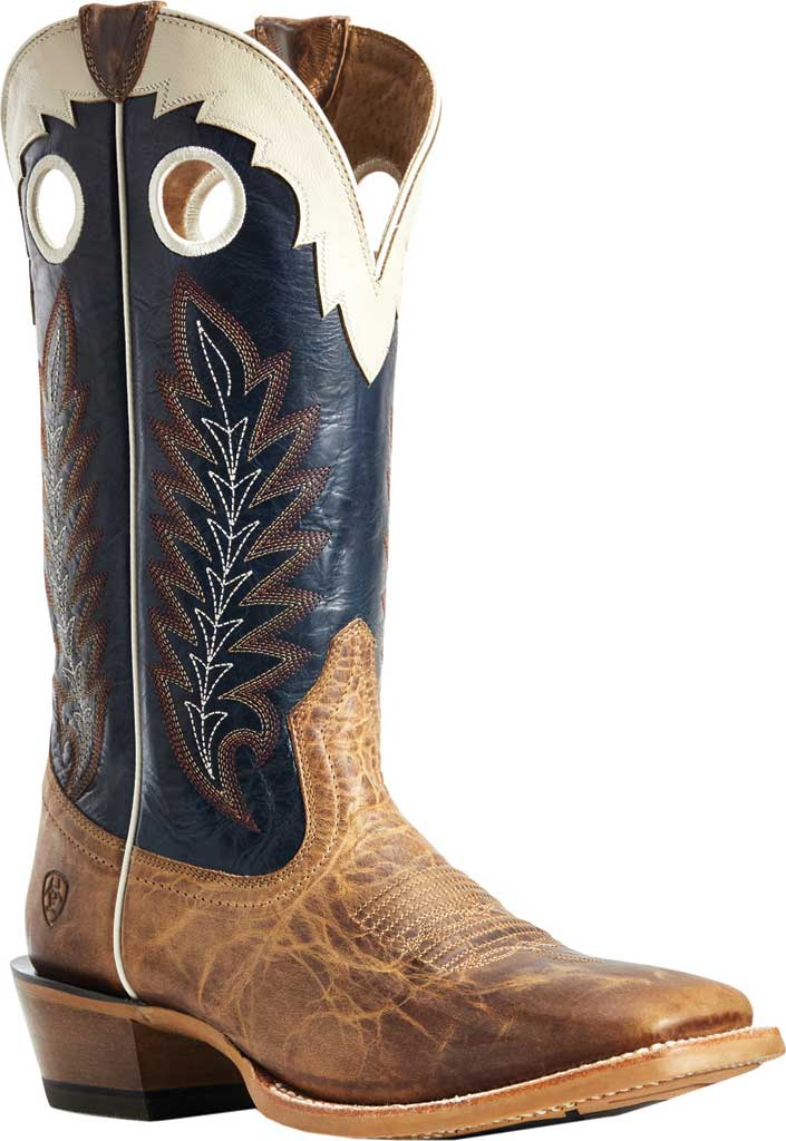 Men's Ariat Real Deal Cowboy Boot, Dusted Wheat/Navy Full Grain Leather, large, image 1