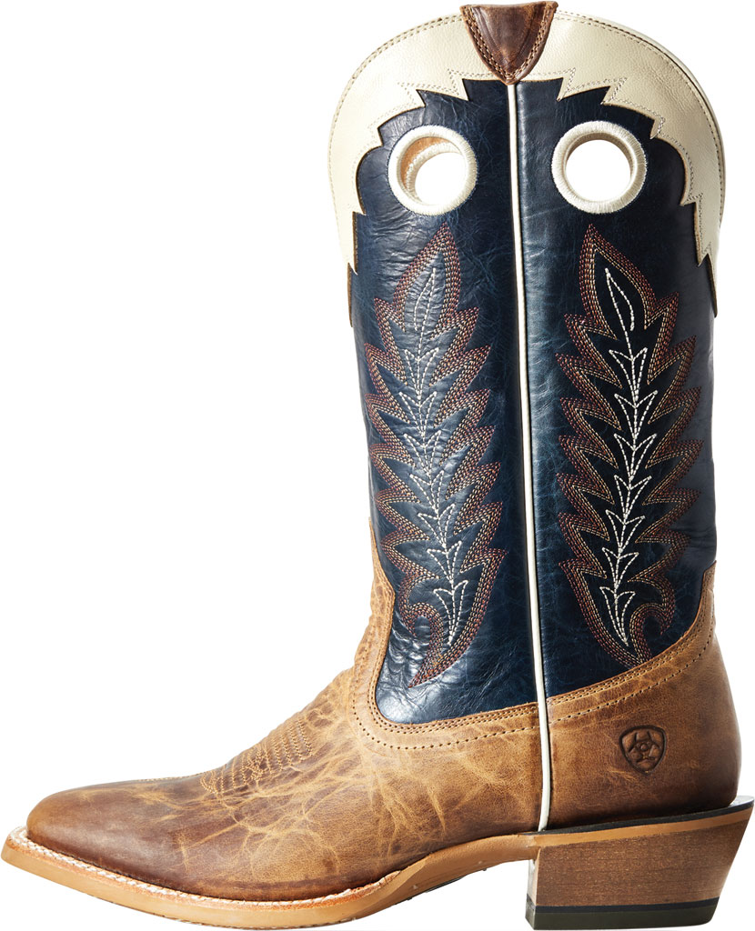 Men's Ariat Real Deal Cowboy Boot, Dusted Wheat/Navy Full Grain Leather, large, image 2
