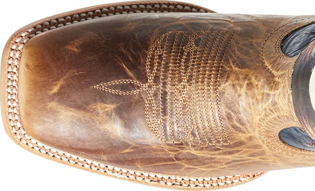 Men's Ariat Real Deal Cowboy Boot, Dusted Wheat/Navy Full Grain Leather, large, image 4