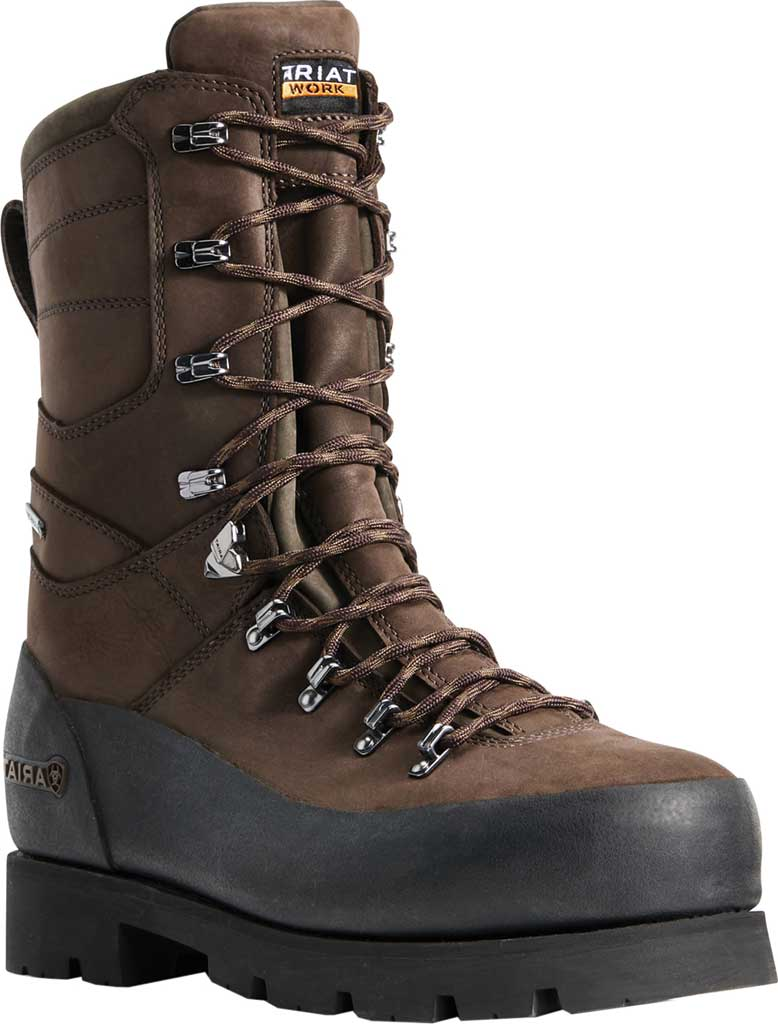 "Men's Ariat Linesman Ridge 10"" GTX Composite Toe Work Boot, Bitter Brown Full Grain Leather, large, image 1"