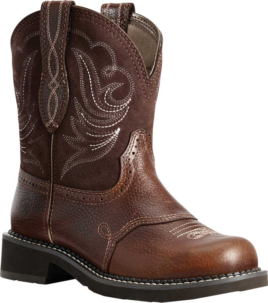 Women's Ariat Fatbaby Heritage Dapper Cowgirl Boot, Copper Kettle/Brownie Leather/Suede, large, image 1