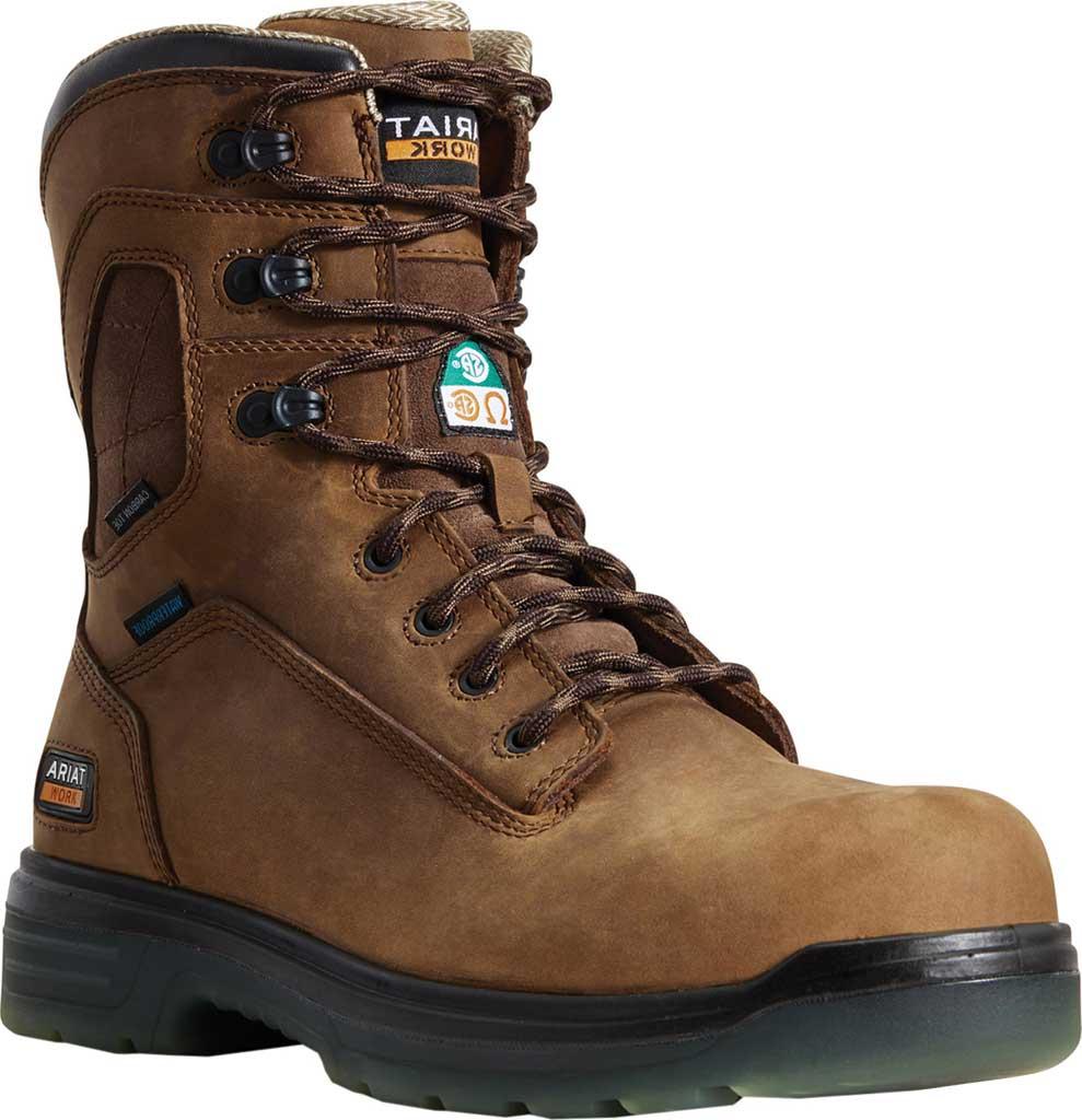 "Men's Ariat Turbo 8"" H2O CSA Carbon Toe Work Boot, Aged Bark Full Grain Leather, large, image 1"